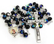 Woman Rosary Crystal Glass Black Rosaries From Medjugorje + Gift Box