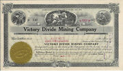 Nevada 1919 Victory Divide Mining Company Stock Certificate Goldfield District