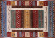Gabbeh Tribal Hand-knotted Wool Rug 5and039 9 X 8and039 3 - P9206