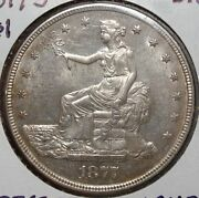 1877-s Trade Silver Dollar, Uncirculated Type Coin, Lustrous And Original 0216-03