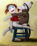 Sock Dolls Loving Stool Humor Funny Monkey Red Head Doll Bizarre Fun Must C