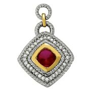 New 14k Two-tone Gold Cushion Cut Ruby And Diamond Rope Slide Pendant Necklace