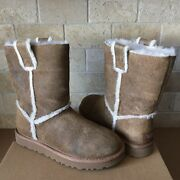 Ugg Classic Short Spill Seam Chestnut Bomber Suede Fur Boots Size Us 7 Womens