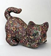 Vintage Calico Chintz Cat Brown Floral Figurine 6 Tall