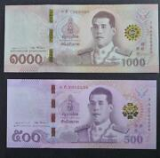 Thailand 500 And 1000 Baht 2018 King Rama X P-new Unc Banknote