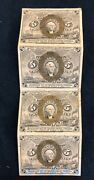 Us 1863 5 Cent Center Block Of 4 Fractional Postage Currency Paper Money Fr 1233