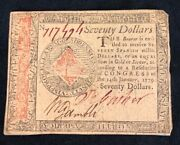 70 Seventy Spanish Milled Dollars Note January 14 1779 Continental Currency