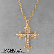 Antique Victorian Etruscan 14k Yellow Gold Old Miner Diamond Pearl Cross Pendant