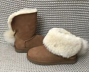 Ugg Classic Charm Star Bling Pom Chestnut Short Ankle Mini Boots Size 7 Womens