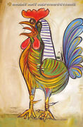 The Rooster Or Le Coq Picasso Reproduction In Oil 24x17