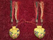 2 Beautiful Antique 19th C Chinese Embroidered Silk Purses Pouch Bag Embroidery