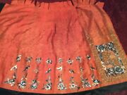Antique 19th C Qi'ing Chinese Damask Silk Embroidered Half-skirt Embroidery