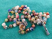 Catholic Multicolored Rosary Murano Crystal Glass Rosaries From Medjugorje +bag