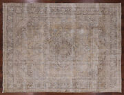 Hand Knotted Vintage White Wash Area Rug 9and039 9 X 12and039 7 - Q2072
