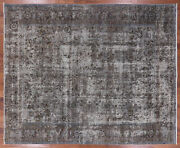 9and039 5 X 11and039 7 Signed Vintage White Wash Wool Area Rug - Q1931
