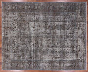 9' 5 X 11' 7 Signed Vintage White Wash Wool Area Rug - Q1931