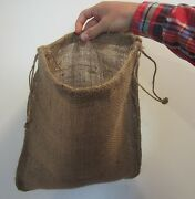 20 New Jute Burlap Bags With Drawstrings Gunny Feed Bag Tow Sack 12 By 14