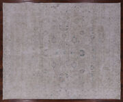 9and039 6 X 11and039 6 White Wash Hand Knotted Vintage Area Rug - Q1944