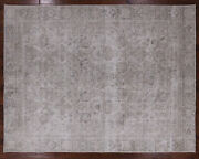 8and039 10 X 11and039 5 Vintage White Wash Hand Knotted Wool Area Rug - Q1950