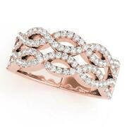 New Ladies 14k Rose Gold Diamond Double Row Twisted Ring Band