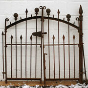 4 Section 81x36 Gate Post Antique Vintage Iron Picket Ball Spear Fence Fencing