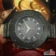 Super Techno Mens Real 12 Diamond Watch All Black Steel 49mm Big Face Metal Band