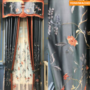 American Country Silk Satin Embroidered Blue Cloth Blackout Curtain Valance B124