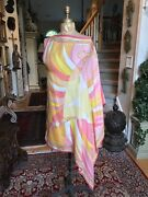 New Emilio Pucci One Sleeve Caftan Swimsuit Cover-up One Size Pink Orange Yell