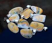 100 Pcs Lot Natural Bumble Bee Stone 925 Sterling Silver Plated Pendants Jewelry
