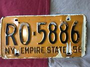 Ny Empire State License Plate 1958 Vintage