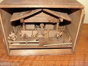 Antique Hand Made Farm House Model With Box