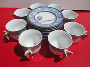 8 Vintage Royal Cafe Huahai Chaozhou Demitasse Butterfly Espresso Cups And Saucers