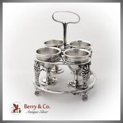 Antique English Egg Cruet Stand 4 Cups Figural Shell Feet Sterling Silver 1819
