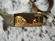 Showman Gold Praying Cowboy Antique Brown And Silver Show Spurs Women's Size