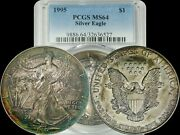1995 American Silver Eagle Pcgs Ms64 Red/yellow/green/blue Rim Toned Coin Ase