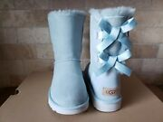 Ugg Short Bailey Bow Ii Ether Blue Water-resistant Suede Boots Size Us 7 Womens