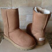 Ugg Classic Short Ii Chestnut Water-resistant Suede Boots Size Us 7 Womens
