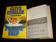 Clive Cussler Signed Plague Ship 1st Printing Hardcover Book