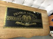 Vintage Franklin National Insurance Company Of New York Brass Metal Sign 24 X 12