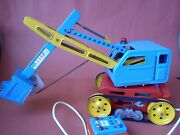 Old Tin Toy Large Excavator Control Line Battery Operated Made In Italy