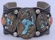Silver Boulder Ribbon Turquoise Navajo Native American Cuff Bracelet Guy Hoskie