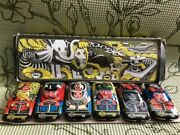 1970andrsquos Rare Vintage Set Of 6 Russian Tin Toys Racing Cars Hand Painted With Box