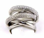 Round Diamond Bypass Criss Cross Pave Ring Band 14k White Gold 1.58ct