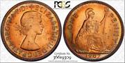 1967 Great Britain One Penny Bu Pcgs Genuine Unc Cleaned Color Toned Coin