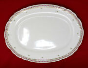 Antique Mercer Pottery Co Semi Vitreous 15 Inch Oval China Platter 1890s Usa