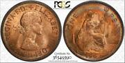 1967 Great Britain One Penny Bu Pcgs Ms63rb Color Toned Coin In High Grade