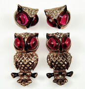 Vtg 30's Rare Coro Adolph Katz Ruby Glass Cabs Owl Duette Fur Clips And Earrings