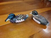 Vintage Hand Carved Hand Painted 6 Wood Wooden Wild Ducks Water Fowl Set Of 2