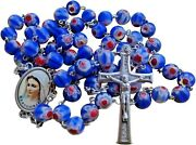 Catholic Rosary Murano Crystal Glass Blue Rosaries From Medjugorje + Gift Bag
