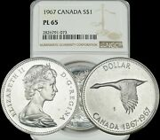 1967 Canada Silver 1 Dollar Bu Ngc Pl 65 Beautiful And Excellent Condition Coin